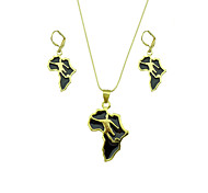 18k Golden Plated Fashion African Map Pendant Necklace Earrings Set Jewelry