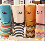 Fashion Smiling Face Rolls Pen Bag Canvas Students Creative Pen Bag