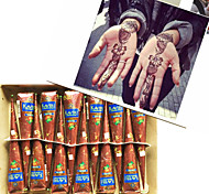 12 coni henné a base di erbe naturali inchiostro del tatuaggio temporaneo arte body kit mehandi Kaveri