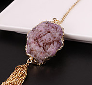Purple agate crystal pendant necklace alloy gold