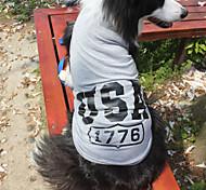 Katzen / Hunde T-shirt Rot / Blau / Grau Hundekleidung Sommer / Frühling/Herbst Amerikaner / USA Modisch Lovoyager