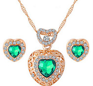 Diamond Love Crystal Alloy Jewelry Set Necklace/Earrings Wedding / Party / Daily / Casual 1set