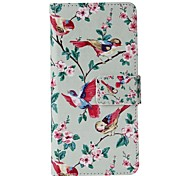Bird Apricot Flower Painted PU Phone Case for iphone5SE
