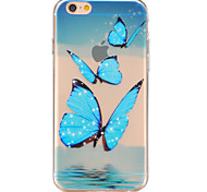 Blue butterfly Pattern TPU Relief Back Cover Case for iPhone 6/iPhone 6S