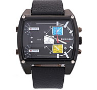 Men's Military Fashion Square Dial Leather Band Quartz Watch Wrist Watch Cool Watch Unique Watch