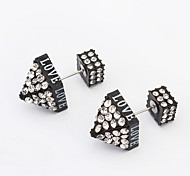 Women's New European Style Fashion Rivet Cone Shiny Rhinestone Stud Earrings