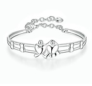 Lureme Romantic Style Silver Plated Jewelry Heart Angle Love Bangle for Women