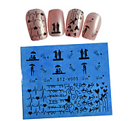 10pcs Black New Nails Art  Water Transfer Sticker  Manicure Nail Art Tips  STZV001-010