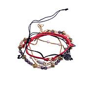 Fashion Drill Peach Heart Letter Bead Alloy Bracelet(4Pcs)