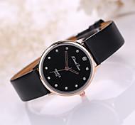 montre-bracelet ms de disque de diamant d'or de dames. montre PU bande de quartz (couleurs assorties)