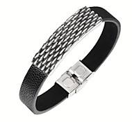 316L Stainless Steel Bullet Pattern Full Grain Leather Bracelets