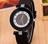 Mulheres Relógio de Moda Simulado Diamante Relógio Quartzo Silicone Banda Preta Branco
