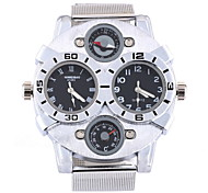 Men's Military Fashion Double Time Silver Steel Band Quartz Watch Cool Watch Unique Watch