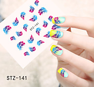 1pcs  Water Transfer Nail Art Stickers  Colorful Feather Flower Nail Art Design STZ141-144