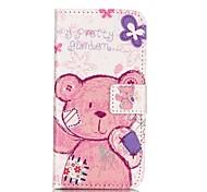 pouco padrão de urso estojo de couro pu com slot para cartão e ficar para iPhone 6 6s / iphone