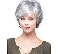 cabelo sintético curto mulheres senhora perucas perucas de prata curto encaracolado