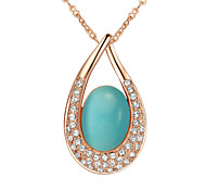 T&C Women's Valentine's Gift 18k Rose Gold Plated Crystal Elegant Green Opal Stone Water Drop Pendant Necklace