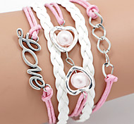Multilayer Love & Heart Weave Bracelet,White&Pink inspirational bracelets