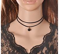 Graceful Vintage Gothic Style Exquisite Velvet Double Choker Necklace Torque