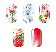 5Pcs/Set Fashion Charming Flower Beauty Girl Nail Art Nail Stickers Nail Tools Gel Decals Makeup