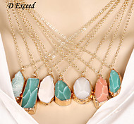 D Exceed Natural Stone Pendant Necklace Irregular Colorful Stone Charms Jewelry Collares Bijoux Piedras Naturales