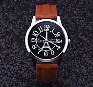 Unisex'S Fashion Eiffel Tower Watch British Style Quartz Wrist Watch Leisure Fashionable Dress Watches
