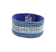 Fashion Women Multi Rows Stone Set Enamel Magnet Leather Bracelet