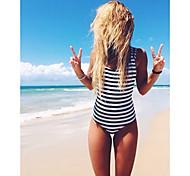 Stylish Piece Bikini Swimsuit Black Stripes