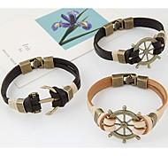 Women's European Style Fashion Concise Metal Rudder Anchor Leather Bracelet