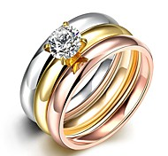 Fashion Unisex Smooth White Zircon Gold-Plated Titanium Steel Couple Rings(Golden,Rose Gold,Silver)(1Pc)