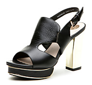 Aokang® Women's Platform Chunky Heel Sheepskin Sandals(black)