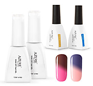 Azure  4 Pcs/Lot Soak-off Color Changing UV LED Gel Nail Polish Manicure Varnish(#04+#13+BASE +TOP)