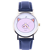 New  Lovely Pig Watch,Leather Belt Student Quartz Watch Unique Pig Design Girls Watch Cartoon Students Children Watch