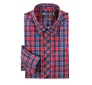 JamesEarl Men's Shirt Collar Long Sleeve Shirt & Blouse Red - MB1XC000301