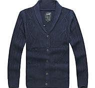 Lesmart Hommes Col en V Manche Longues Pull & Cardigan Noir / Kaki / Bleu foncé - CX13136