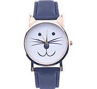 Little Cat Watch With Gold Dial Fashion Women Candy Color Leather Strap Students Wristwatches Gift For Girlfriend