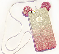 Lanyard Gradient Glitter Mickey Ears TPU Phone Case For iPhone 6/6S6 Plus/6S Plus