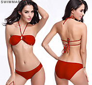 Fashion Strappy Tied Top Closured Bottom Vintage Swimsuite Two Piece Swimsuit For Women Solid Colors DM025