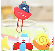1PC  Cute Animal Cartoon Painted Wooden Paperclip Burst Models Stationery Wholesale,paper Clips(Style random)