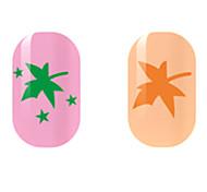 Green/Orange Leaf Hollow Nail Stickers