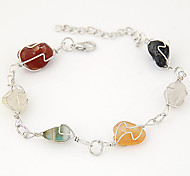 Women's European Style Fashion Metal Multicolor Crushed Stone Charm Bracelets