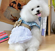Dog Dress Blue Summer Bowknot / Jeans / Floral / Botanical Cowboy, Dog Clothes / Dog Clothing-Lovoyager