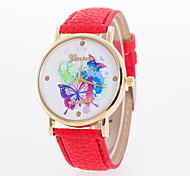 Women's Fashion Watch Quartz Leather Band Butterfly White Blue Red Orange Brown Green Pink Yellow Strap Watch