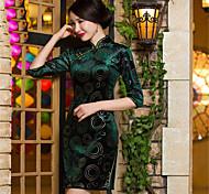 Pleuche Terylene New Year Female Ethnic & Religious China Costumes Dress