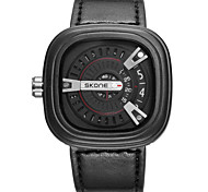 Men's Wrist watch Unique Creative Watch Quartz Leather Band Black