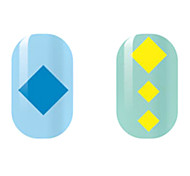 Blue/Yellow Square Hollow Nail Stickers