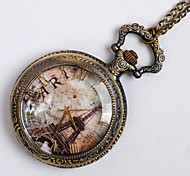 Unisex Pocket Watch European And American Style Retro Fashion Quartz Flip Pocket Watch Tower Pregnant