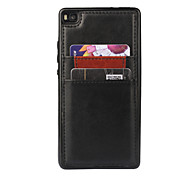For Huawei Case / P8 Card Holder Case Back Cover Case Solid Color Hard PU Leather Huawei Huawei P8