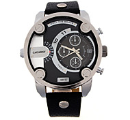 CAGARNY®Men Fashion Round Dial Calendar Analog Wristwatch with Artificial Leather Strap Assorted Colors