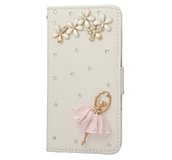Handmade Bling Crystal PU Leather with Shiny Diamonds Ballet Girl Flip Cover for Samsung Galaxy S2/S3/S4/S5
